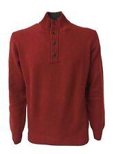 DELLA CIANA maglia lana/cashmere uomo rosso scuro interno collo grigio MADE ITA