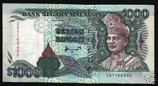 MALAYSIA $1000 RINGGIT P34A 1995 DEER CENTRAL BANK *ZA* RARE CURRENCY MONEY NOTE
