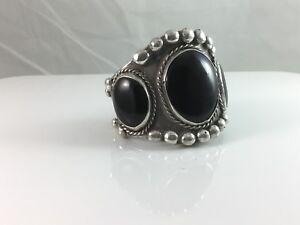 Vintage Very Large .925 Sterling Silver Onyx Cuff Bracelet