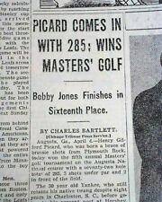 THE MASTERS TOURNAMENT Henry Picard Wins Golf Major at Augusta GA 1938 Newspaper