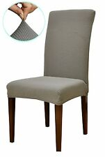 Subrtex Knit Stretch Dining Room Chair Slipcovers (4, Gray Knit)(open packaging)