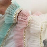 Pearls Wave Collar Hemline Dress DIY Lace Edging Pleated Costume Craft Ribbon 1M