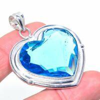 "Swiss Blue Topaz Gemstone Handmade 925 Silver Jewelry Pendant 1.97"" ARK-909"