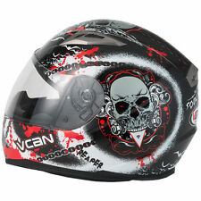 Visière Casque Moto integral VCAN 158 Soul Reaper Racing Scooter Rouge Bike L