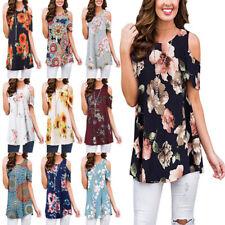 Womens Summer Tunic Tops Short Sleeve Blouse Floral Boho Cold Shoulder T Shirt