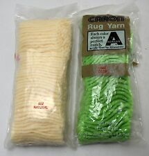 Caron Pre Cut Rug Yarn - Latch Hook Rugs - 2 Sealed Packages: 1 Lime, 1 Natural