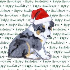 Australian Shepherd Dog Coasters Christmas Themed Puppy