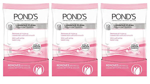 3 Pack Ponds Luminous Clean Wet Cleansing Towelettes 28 Count Wipes Kaolin Clay