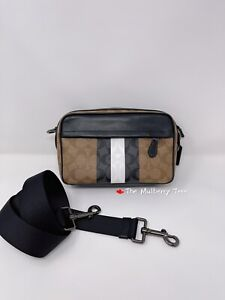 NWT Coach 5573 Graham Crossbody Signature Canvas with Varsity Stripe Org $328