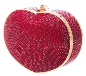 Judith Leiber Heart n Soul Red Burgundy Crystal Gold Bag Purse Evening Vintage