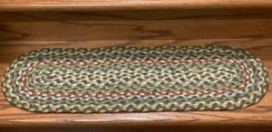 Braided Oval Fir and Ivory Stair Tread by Earth Rugs