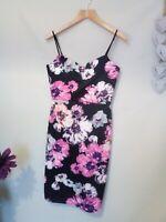 Quiz black floral pencil wiggle dress races wedding guest ladies size 12 #o425
