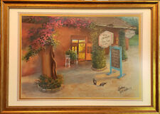 """Florida summer cafe. Original pastel on paper 13""""x18.5"""" painting from artist"""
