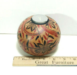 """Hard Wood Batik Candle Holder, 3"""" Height, Hand Crafted, Made in Bali, Natural"""