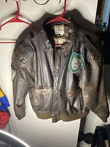 vintage leather pilot jacket