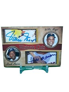 Hank Aaron & Willie Mays Historic Cuts Dual Autograph Card