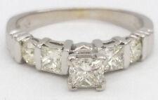 0.92 ct 14K White Gold Princess & Round Cut Diamond Engagement Ring