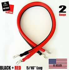 """2 AWG Gauge  5/16"""" Lug Battery Cable Inverter Cables Solar, RV, Car, Golf , ...."""