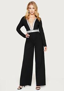Bebe Jumpsuit Jeweled Embellished V-neck Wide Leg Fitted Black Size 6 & 10 NWT