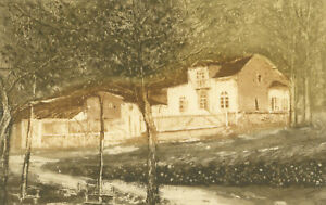 20th Century Etching - Countryside Cottage Study in the Woods