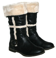 LADIES BLACK MID CALD LENGTH FUR LINED BOOT WITH FUR COLLAR IN SIZE 3-8