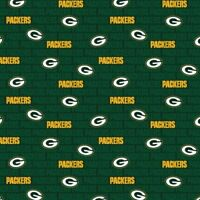 """NFL Green Bay Packers Licensed Cotton Fabric 1/2 Yard 58/60"""" Wide BTHY"""