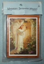 "Jesus Knocking at Heart's Door Picture on wood plaque {3.25"" x 4.25""} New"