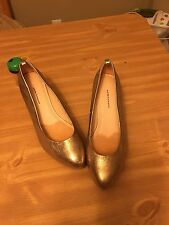 PILCRO AND THE LETTERPRESS Gold LEATHER PLATFORMS WEDGES SHOES WOMEN'S 8 M