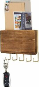 Eclectic Style Wood & Brass-Tone Metal Wall-Mounted Mail Holder w/ 5 Key Hooks