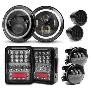 for Jeep Wrangler JK JKU Combo DOT Halo LED Headlights+Tail Lights+Fog Turn Lamp