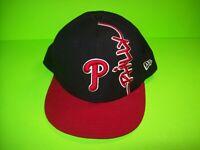 Philadelphia Phillies Vintage Baseball Cap Hat New Era True Fit Red Black 7 5/8