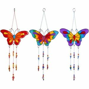 Colourful Butterfly Suncatcher With Beads Home Garden Outdoor Mobile Decor