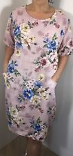 NEW ITALIAN LAGENLOOK DRESS FLORAL PINK POCKETS SLEEVES SOFT PLUS SIZE 16 18 20