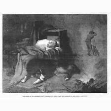 FINE ART Dream of the Shepherds Dog by T Earl - Antique Print 1855
