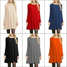 Women Round Neck Long Tunic Top Dress Long Sleeve Casual Shirt L XL Plus 2X Hot