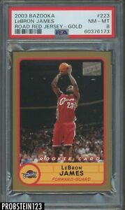2003-04 Topps Bazooka Gold #223 LeBron James Road Red Jersey RC PSA 8 NM-MT