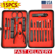 15 Piece Gift Case Manicure Pedicure Nail Care Set Cutter Cuticle Clippers Kit