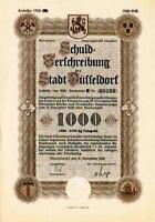 Düsseldorf historische Gold Anleihe 1926 dekorativ Wertpapier Rheinland germany