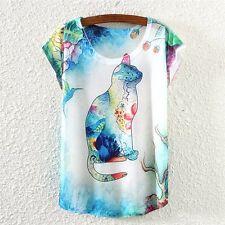 Hübsches buntes Katzen Print Shirt  Gr. M 36 / 38 Katze  Vintage