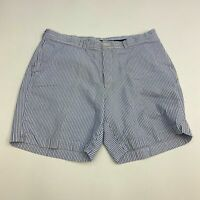 Brooks Brothers Chino Shorts Mens 42 Blue White Flat Front 100% Cotton Striped