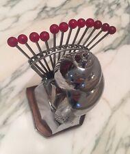 Vintage Art Deco Snail Chrome Bakelite Cocktail Appetizer Barware 12 Pick France