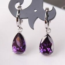 Dangle distinguished design 18k white gold filled purple sapphire earring