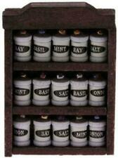 Dolls House Dark Oak Rack with Spice Jars Miniature 1:12 Kitchen Accessory