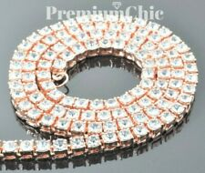 14k Rose Gold IP Tennis Chain Choker Clear CZ Stone Men's Necklace