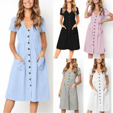 Ladies Women V Neck Holiday Dress Summer Beach Button Pocket Midi Swing Sundress