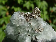 Green Fluorite with Pyrite on Matrix from Morocco. 7 x 6 cm.