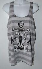 Steadfast Brand, Extra Large, Tank Top, Gray & Black Stripes, Anchor, Tagless