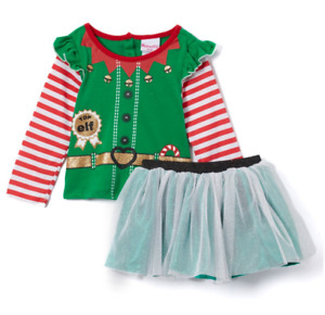 Boutique Little Girls 2 Piece Top Elf Top Skirt Outfit Set NEW Christmas Holiday