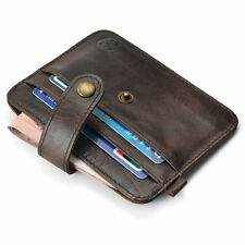 Mens Leather Money Clip Slim Wallet ID Credit Card Holder Case Purse Key Ring