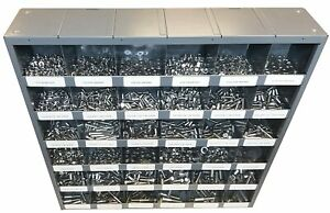 2,510 piece Grade 5 Bolts, Nuts & Washers Assortment with Metal Storage Bin
